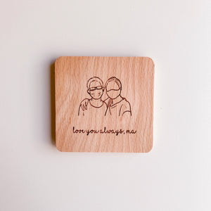 Custom Portrait Coaster by Tofujoystudio