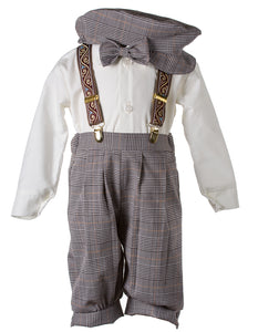 Tan Plaid Knicker Outfit with Paisley Suspenders (Grant)