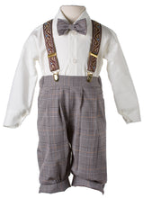 Load image into Gallery viewer, Tan Plaid Knicker Outfit with Paisley Suspenders (Grant)
