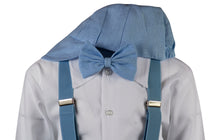 Load image into Gallery viewer, Baby Blue Linen Knicker Outfit with Matching Elastic Suspenders (Parker)