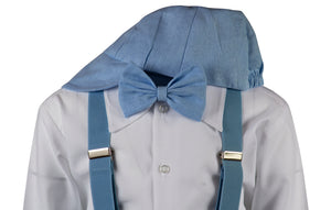 Baby Blue Linen Knicker Outfit with Matching Elastic Suspenders (Parker)