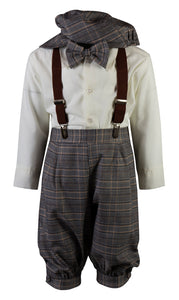 Plaid Checkered Knicker Outfit with Matching Suspenders (Archie)