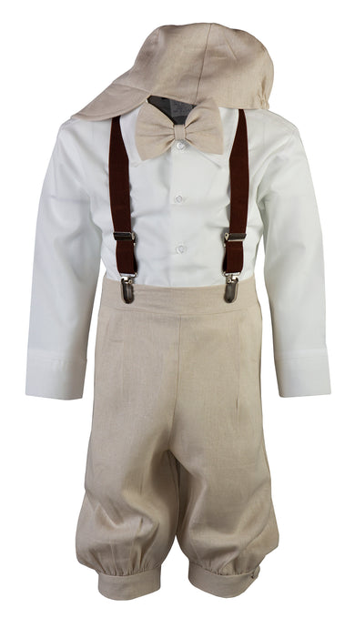 Sand Linen Knicker Outfit with Brown Suspenders (Brandon)