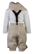 Load image into Gallery viewer, Sand Linen Knicker Outfit with Brown Suspenders (Brandon)