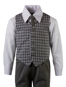 Grey Herringbone Pant Set with Checkered Vest and Neck Tie (Elliott)