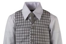 Load image into Gallery viewer, Grey Herringbone Pant Set with Checkered Vest and Neck Tie (Elliott)