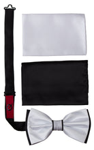 Load image into Gallery viewer, 2 Tone Colored Bow Tie and Pocket Square Boxed Gift Set (Jedd)
