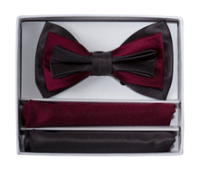 Load image into Gallery viewer, 3 Tone Colored Bow Tie and Pocket Square Boxed Gift Set (Jett)