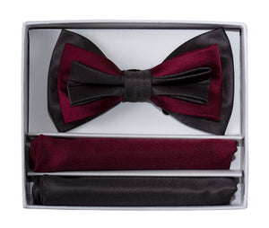 3 Tone Colored Bow Tie and Pocket Square Boxed Gift Set (Jett)