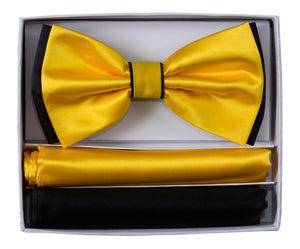 2 Tone Colored Bow Tie and Pocket Square Boxed Gift Set (Jedd)