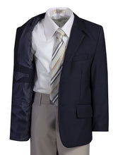 Load image into Gallery viewer, 2 Button Standard Fit Navy Blazer Suit with Colored Pants (Rowan)