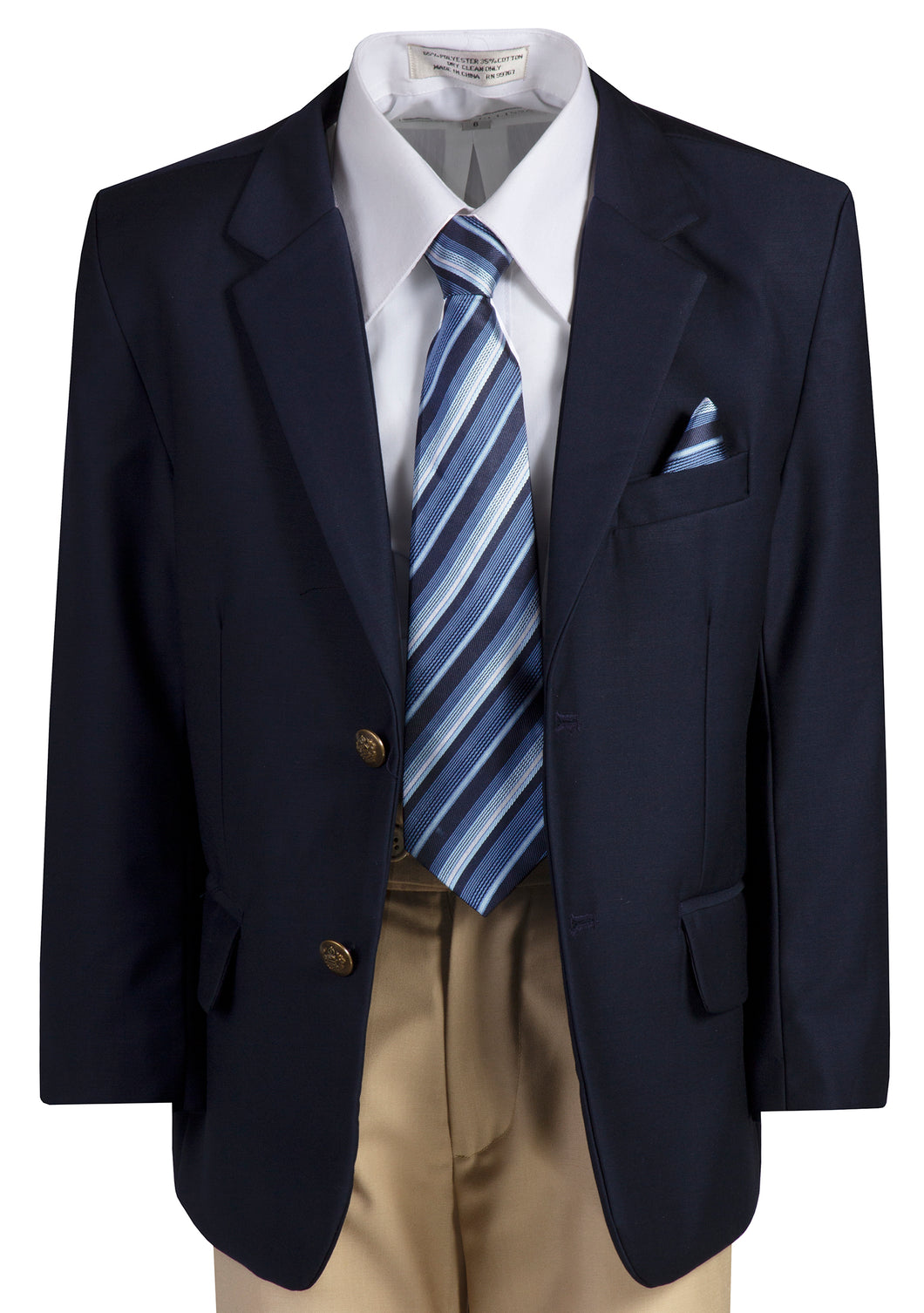 2 Button Standard Fit Navy Blazer Suit with Colored Pants (Rowan)
