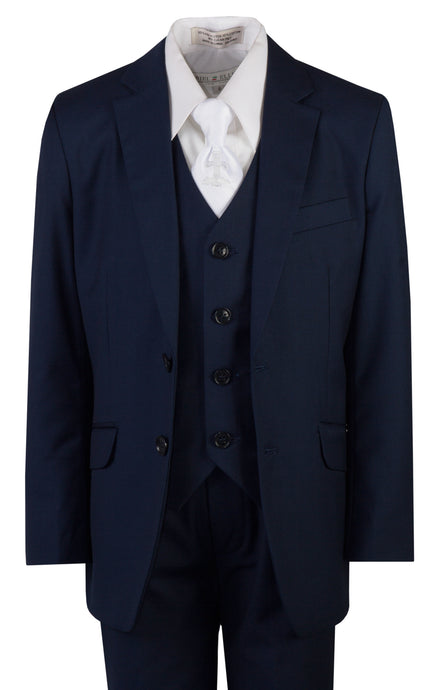 Navy Blue Slim Fit Communion Suit with Religious Neck Tie (Henry)