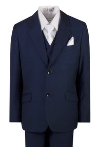 Light Navy Blue Slim Fit Suit with White Neck Tie and Pocket Square (Alex)