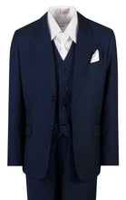 Load image into Gallery viewer, Light Navy Blue Slim Fit Suit with White Neck Tie and Pocket Square (Alex)