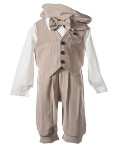 Tan Striped Knicker Outfit with Matching Vest (William)