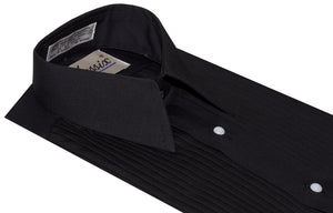 Formal Lay Down Pleated Tuxedo Shirt with Studs (Jude)
