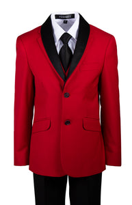 Red 2 Button Slim Fit Suit with Removable Black Lapel (Grayson)