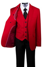 Load image into Gallery viewer, Red 2 Button Slim Fit Suit with Removable Black Lapel (Grayson)