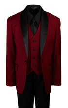 Load image into Gallery viewer, Burgundy Slim Fit Shawl Collar Suit with Black Shirt and Tie (Blake)