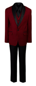 Burgundy Slim Fit Shawl Collar Suit with Black Shirt and Tie (Blake)