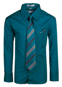 Formal Button Up Colored Dress Shirt with Neck Tie - Classic Colors (Hayden)