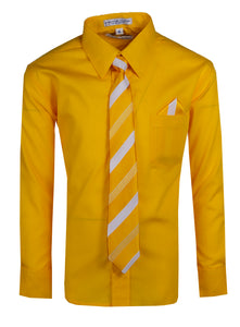 Formal Button Up Colored Dress Shirt with Neck Tie - Trendy Colors (Hayden)