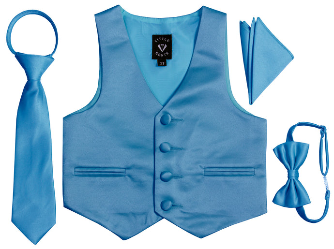 Satin Tuxedo Vest Set with Bow Tie, Neck Tie and Hanky - Trendy Colors (Kayden)
