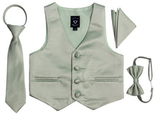 Load image into Gallery viewer, Satin Tuxedo Vest Set with Bow Tie, Neck Tie and Hanky - Trendy Colors (Kayden)