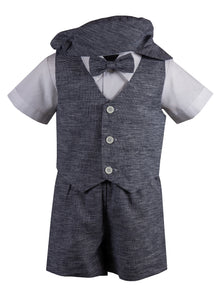 Linen Short Set Outfit with Matching Vest and Short Sleeve Shirt (Eli)