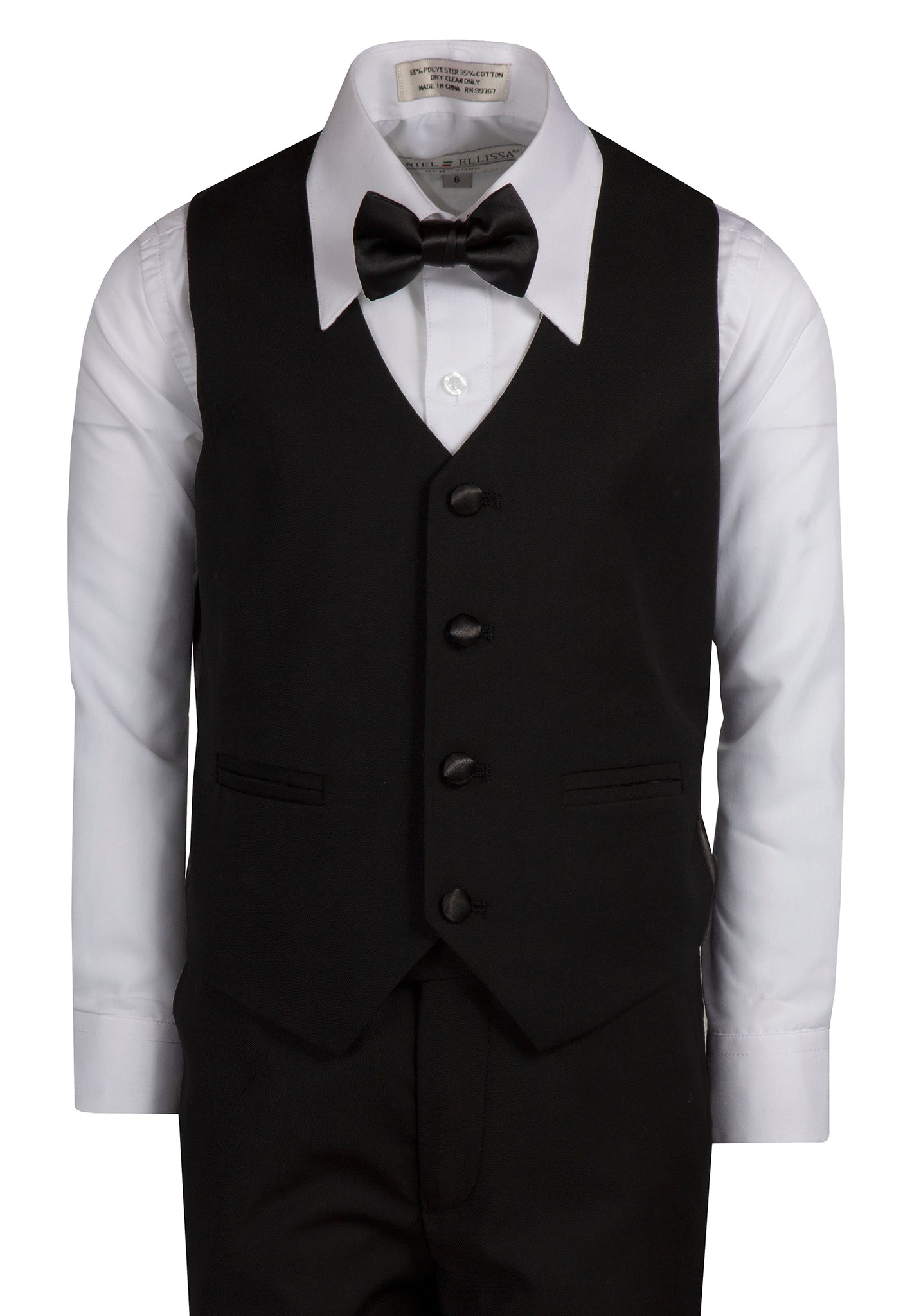 Boys 2 Button Notch Tuxedo with Matching Vest and Bow Tie