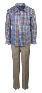 Slim Fit Dress Pant Set with Matching Checkered Shirt (Hendrix)