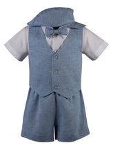 Load image into Gallery viewer, Linen Short Set Outfit with Matching Vest and Short Sleeve Shirt (Eli)