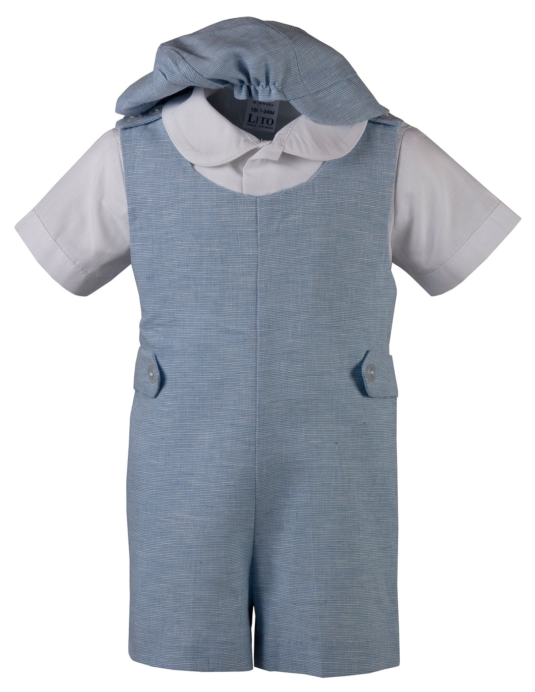 Linen Romper Short Set Outfit with Short Sleeve Shirt (Hudson)