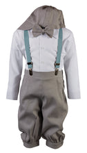 Load image into Gallery viewer, Light Grey Linen Knicker Outfit with Spring/Summer Colored Suspenders (Nick)