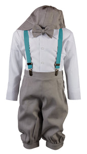 Light Grey Linen Knicker Outfit with Spring/Summer Colored Suspenders (Nick)