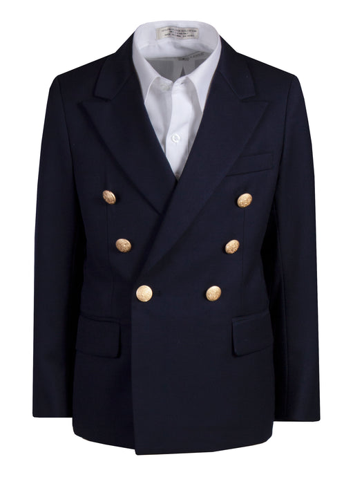 Navy Blue Breasted Blazer Jacket with Gold Buttons (Hunter)