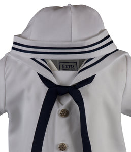 White Sailor Romper Short Set Outfit (Cooper)
