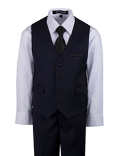 Load image into Gallery viewer, Navy Blue Slim Fit Shawl Collar Suit with Black Lapel (Camden)