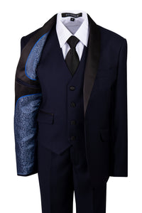 Navy Blue Slim Fit Shawl Collar Suit with Black Lapel (Camden)