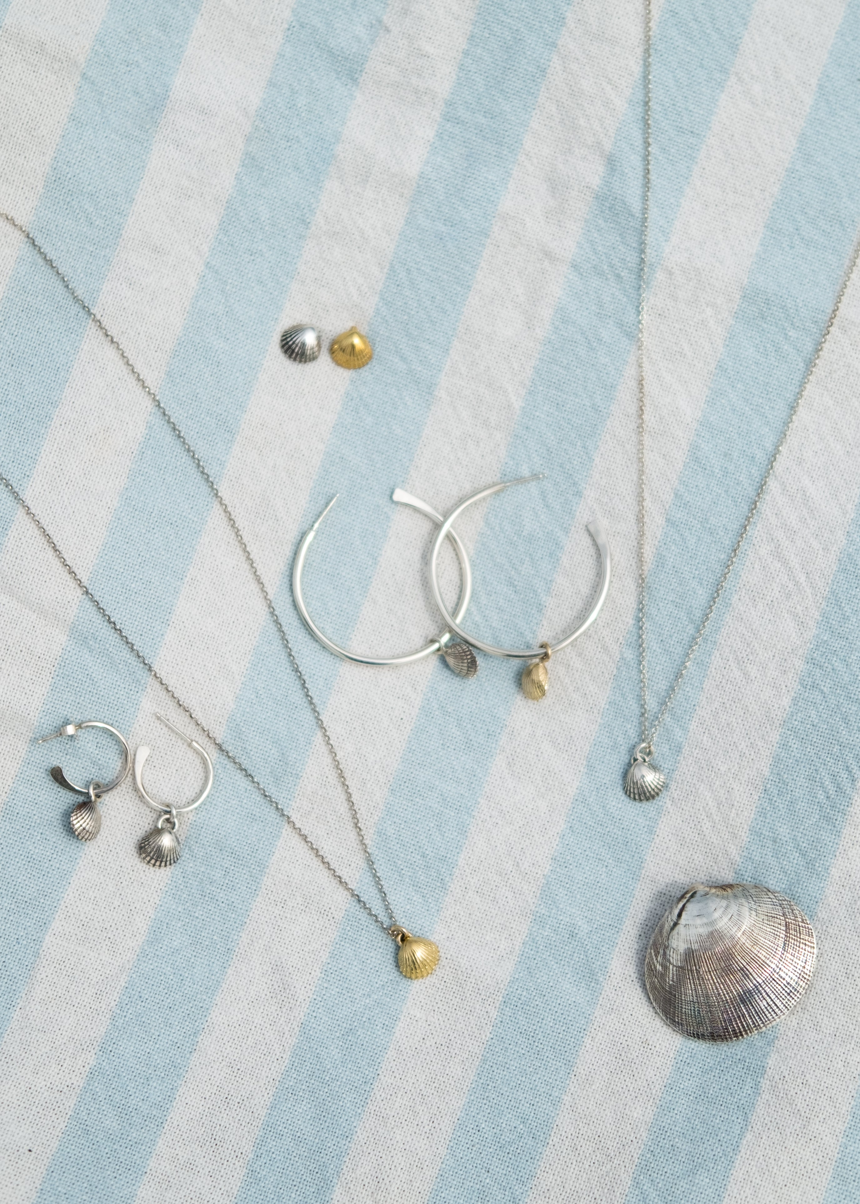 Large Silver Shell Hoops