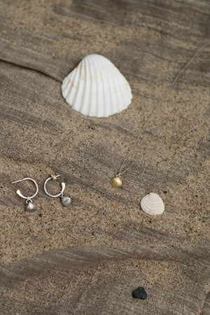 Mini Silver Shell Hoops