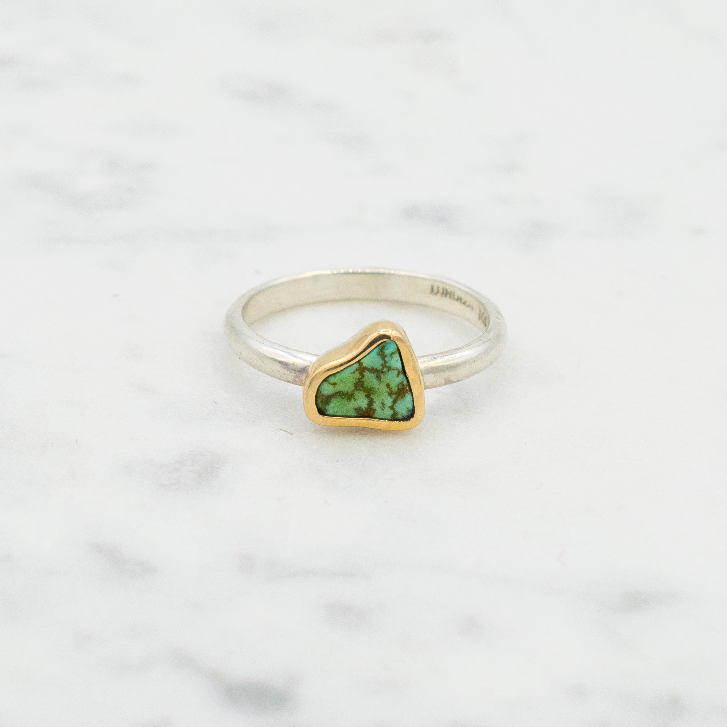 Turquoise, 14k yellow gold and sterling silver ring