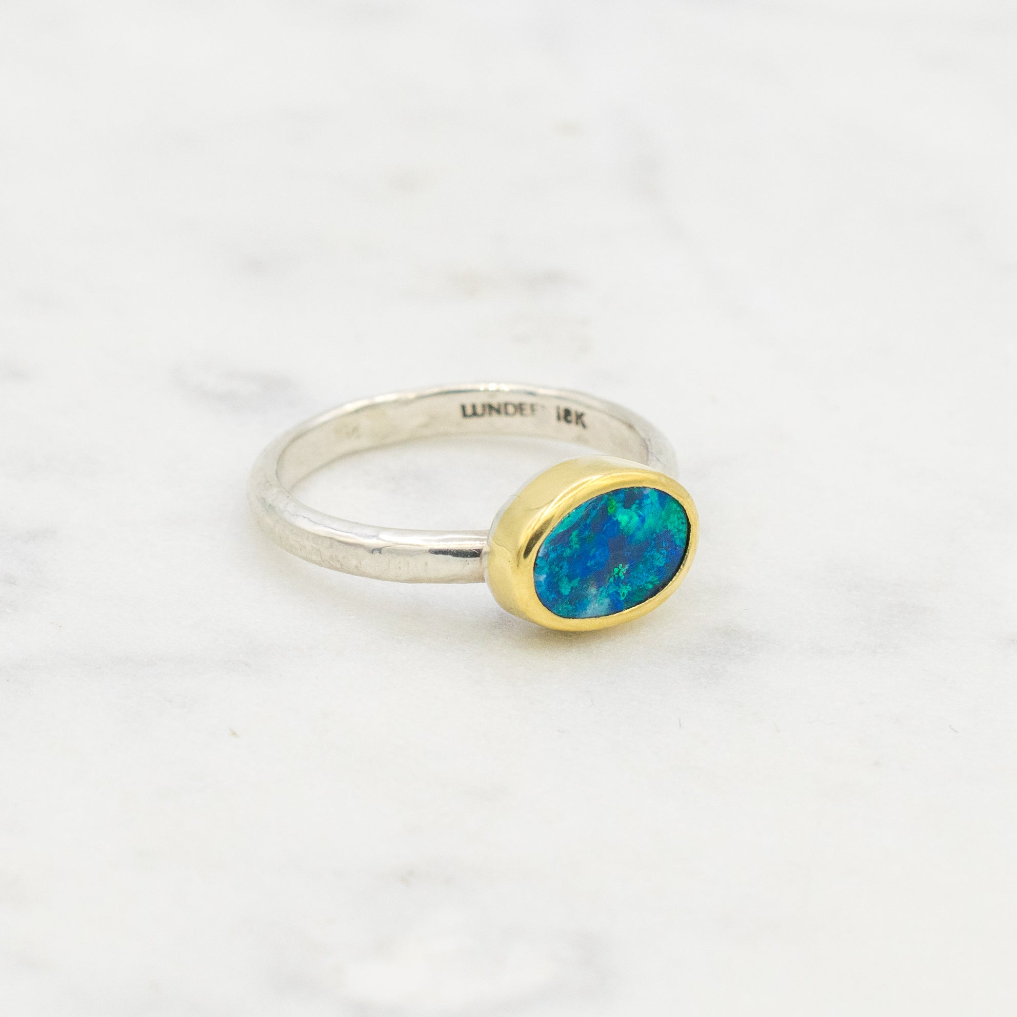 Australian opal, 18k yellow gold and sterling silver ring