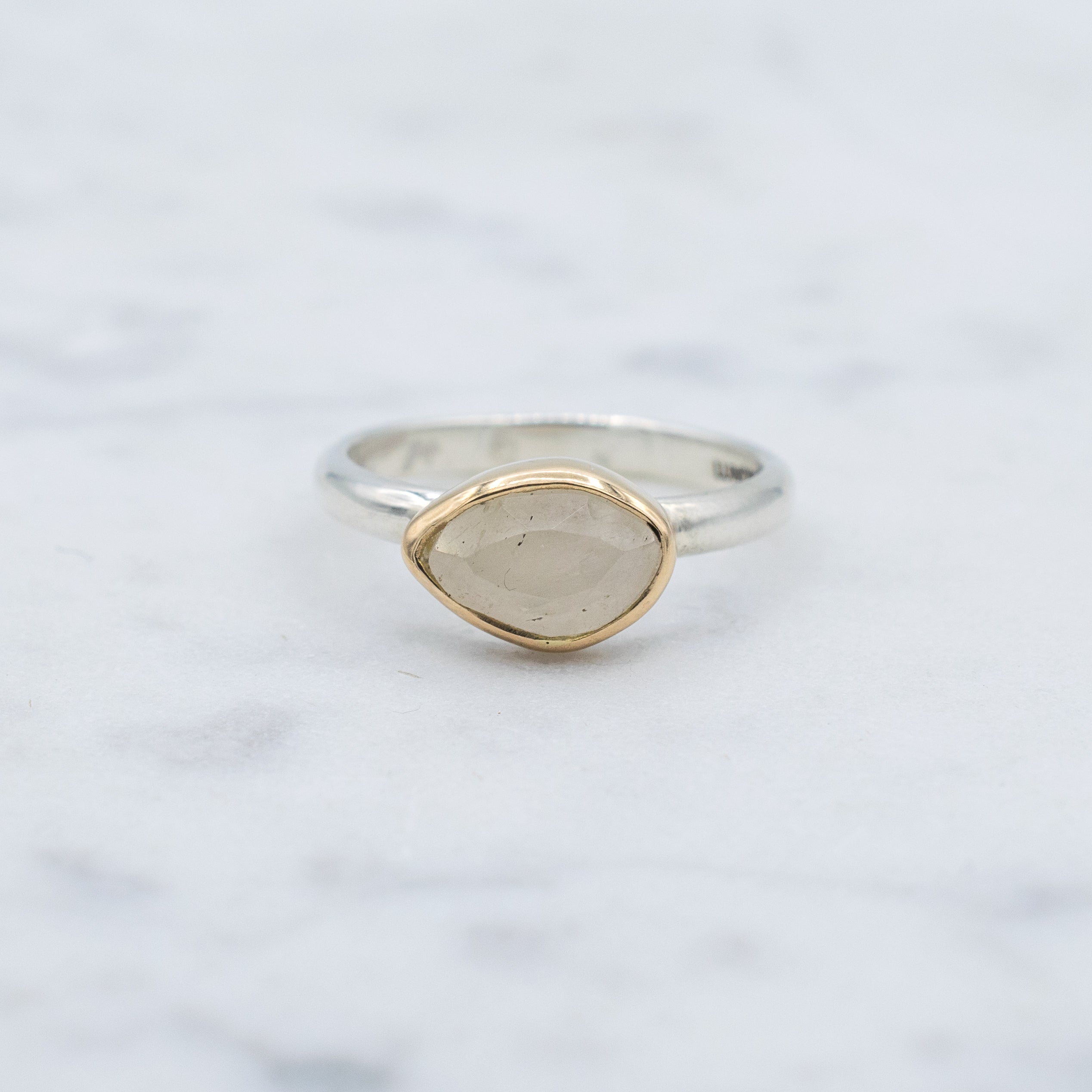 14K Yellow gold, rose cut sapphire and sterling silver ring