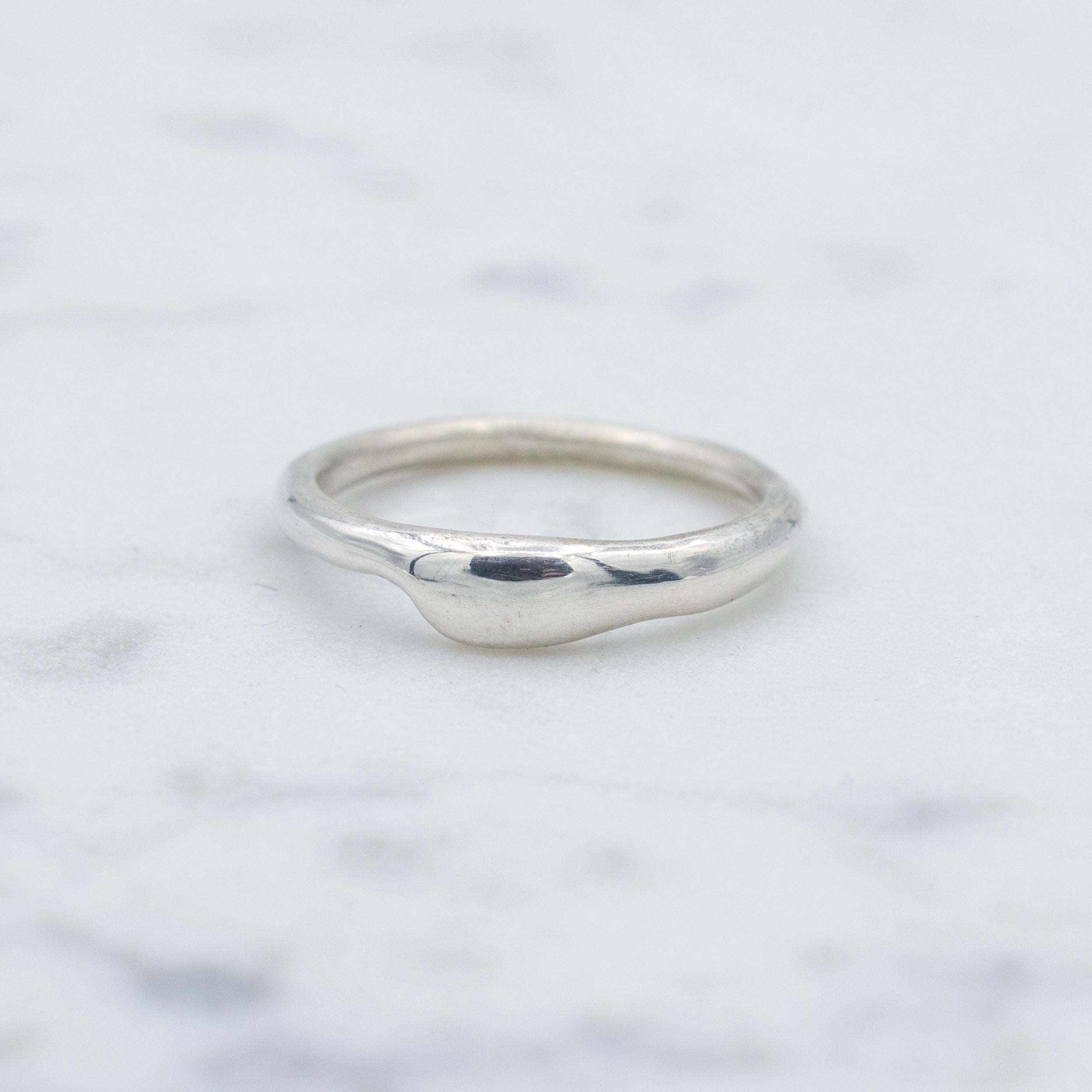 Organic shaped sterling silver band