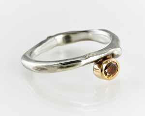 Cognac Diamond Organic Ring