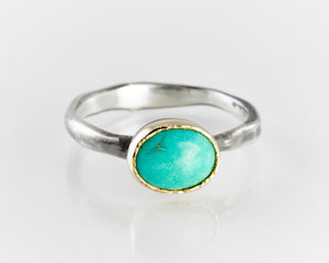 Turquoise, Gold & Oxidized Silver Ring