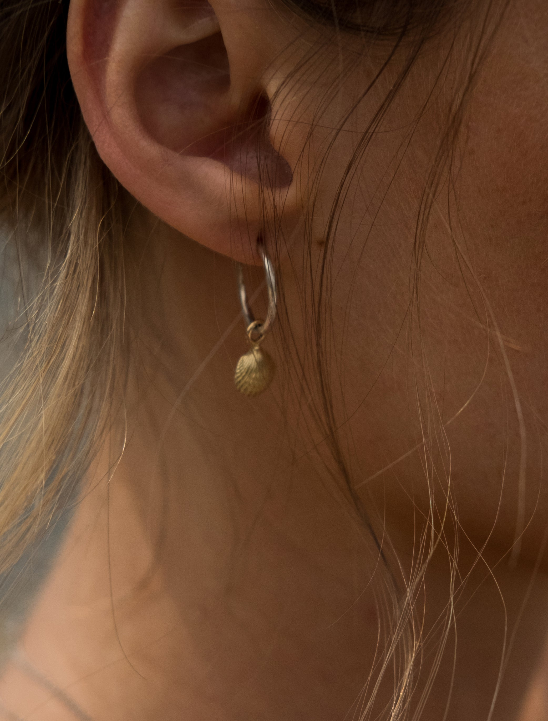 Mini Gold Shell Hoops