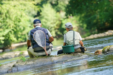 grandpa-fly-fishing-grandson-river-sitting-on-rock-net-bonding